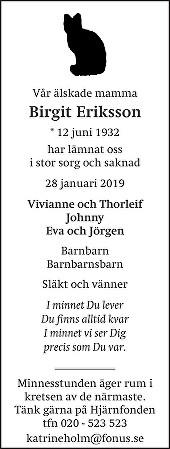 Birgit Eriksson Death notice