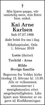 Kai Arne Karlsen Dødsannonse