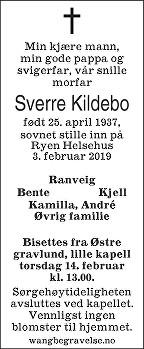 Sverre Kildebo Dødsannonse
