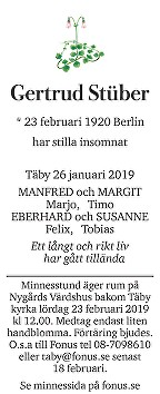 Gertrud Stüber Death notice