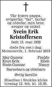 Svein Erik Kristoffersen Dødsannonse