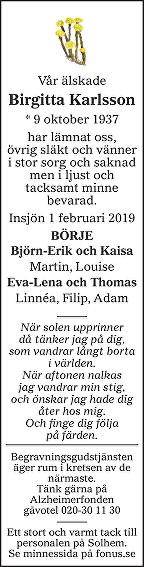 Birgitta Karlsson Death notice