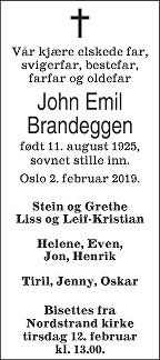 John Emil Brandeggen Dødsannonse