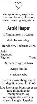 Astrid Harper Dødsannonse