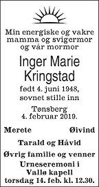 Inger Marie Kringstad Dødsannonse
