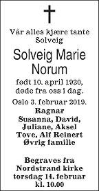 Solveig Marie Norum Dødsannonse