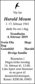 Harald Moum Dødsannonse