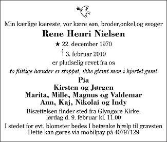 Rene Henri  Nielsen Death notice
