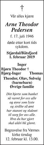 Arne Theodor Pedersen Dødsannonse