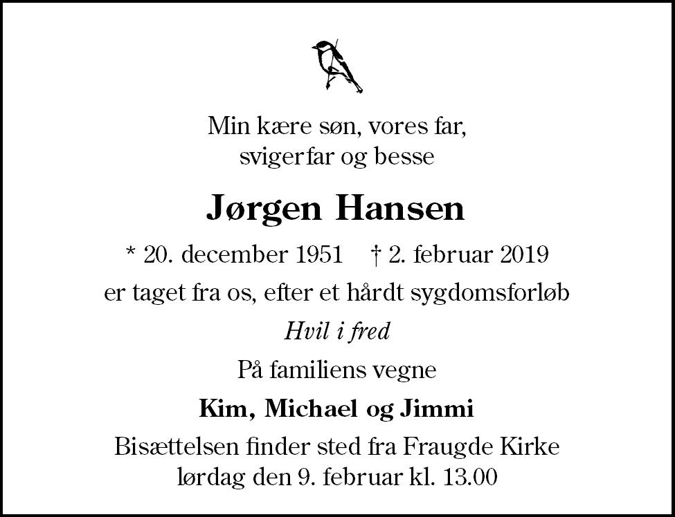 Jørgen  Hansen Death notice