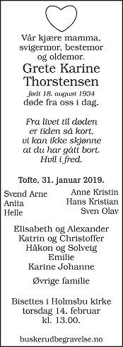 Grete Karine Thorstensen  Dødsannonse