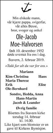Ole-Jacob Moe-Halvorsen Dødsannonse