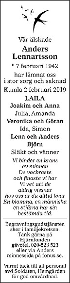 Anders Lennartsson Death notice