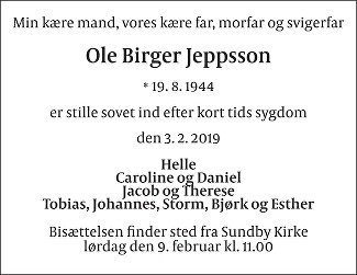 Ole Birger  Jeppsson Death notice