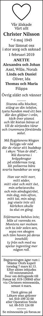 Christer Nilsson Death notice