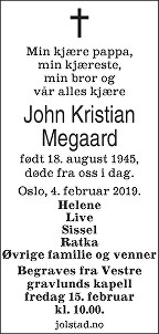 John Kristian Megaard Dødsannonse