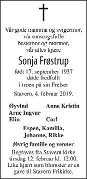 Sonja Johanna Frøstrup Dødsannonse