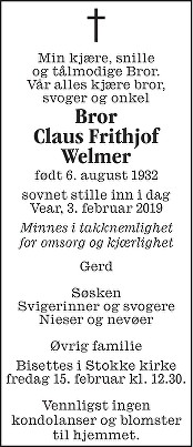 Claus Frithjof ( Bror) Welmer Dødsannonse