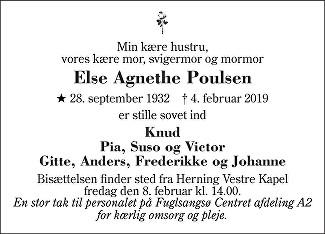 Else Agnethe Poulsen Death notice