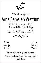 Arne Børresen Vestrum Dødsannonse