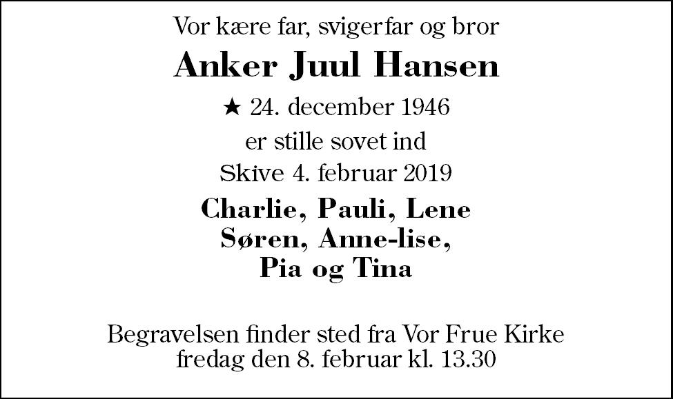 Anker Juul  Hansen Death notice