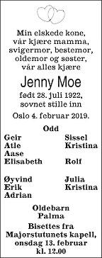 Jenny Moe Dødsannonse