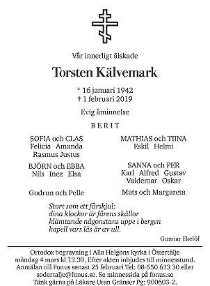Torsten Kälvemark Death notice