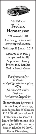 Fredrik Hermansson Death notice