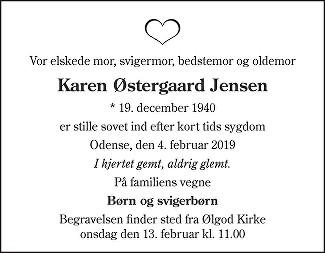 Karen Østergaard  Jensen Death notice