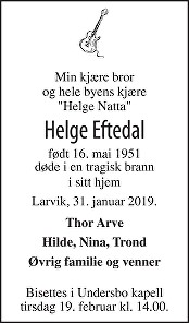 Helge Eftedal Dødsannonse