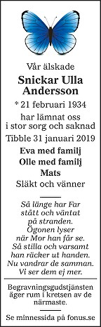 Snickar Ulla Andersson Death notice