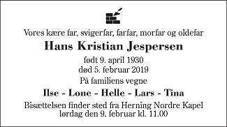 Hans Kristian  Jespersen Death notice