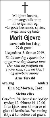 Marit Gjevre Dødsannonse