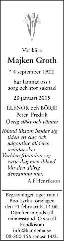 Majken Groth Death notice