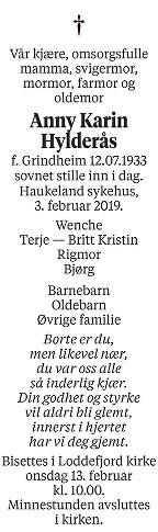 Anny Karin Hylderås Dødsannonse
