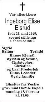Ingeborg Elise Elsrud Dødsannonse