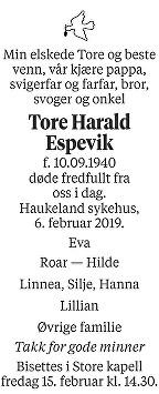 Tore Harald Espevik Dødsannonse
