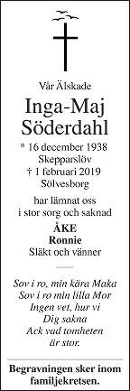 Inga-Maj Söderdahl Death notice