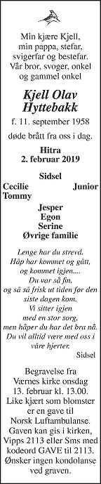 Kjell Olav Hyttebakk Dødsannonse