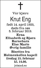 Knut Håkon Eng Dødsannonse