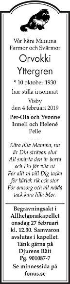 Orvokki Yttergren Death notice