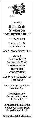 Karl Erik Svensson Death notice