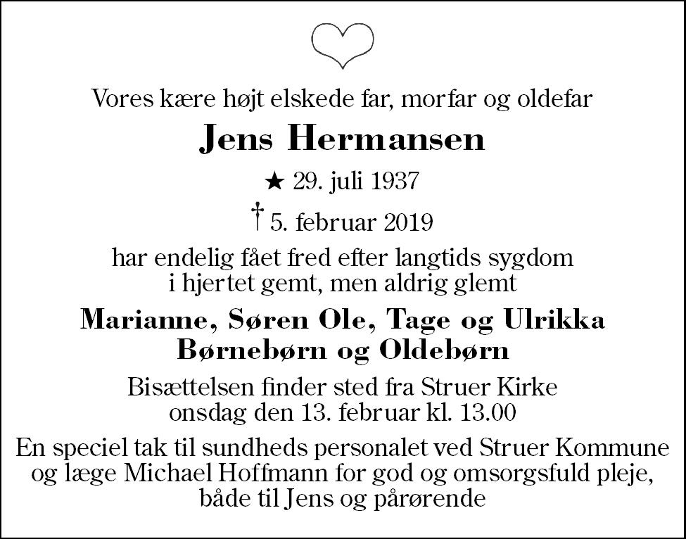 Jens  Hermansen Death notice