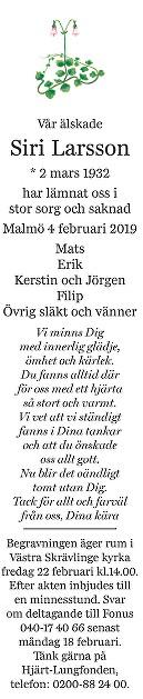 Siri Larsson Death notice