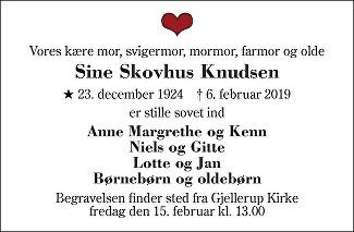 Sine Knudsen Death notice