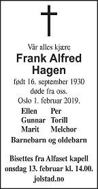 Frank Alfred Hagen Dødsannonse