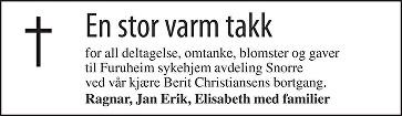 Berit Christiansen Dødsannonse