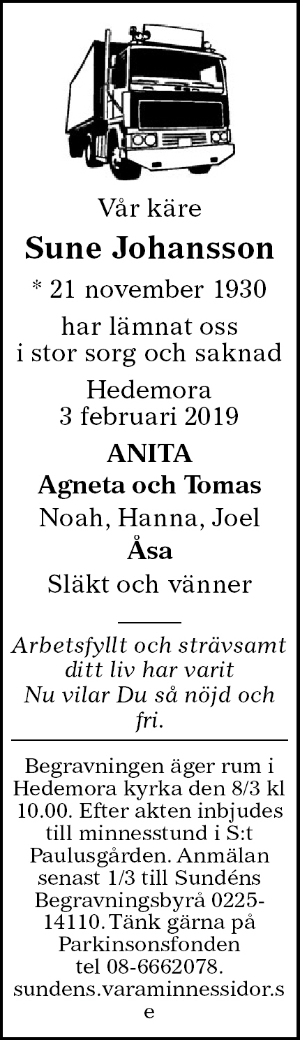 Sune Johansson Death notice