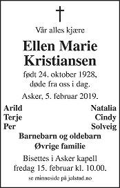 Ellen Marie Kristiansen Dødsannonse