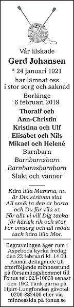 Gerd Johansen Death notice
